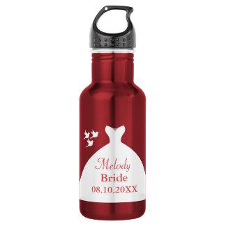 Reizend Hochzeits-Kleiderrotes und weißes Edelstahlflasche
