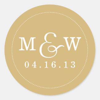 Reizend Hochzeits-Monogramm-Aufkleber - Gold Runder Aufkleber