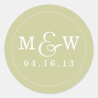 Reizend Hochzeits-Monogramm-Aufkleber - Salbei Runder Aufkleber