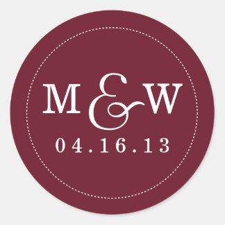Reizend Hochzeits-Monogramm-Aufkleber - Wein-Rot Runder Aufkleber