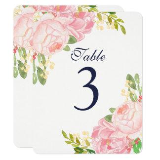 Reizend rosa Pfingstrosen-Tischnummer-Karten 10,8 X 14 Cm Einladungskarte
