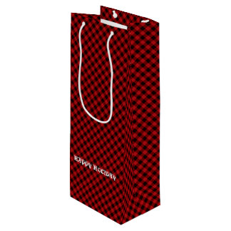 Reizend rustikales rotes schwarzer geschenktüte für weinflaschen