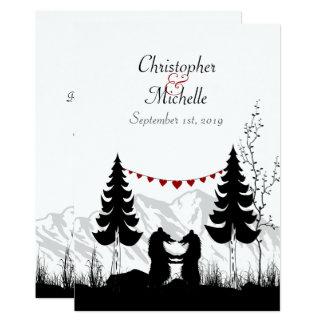 Reizend Silhouette-Berg trägt Wedding einladen Karte