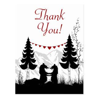 Reizend Silhouette-Gebirgsbären danken Ihnen Postkarte