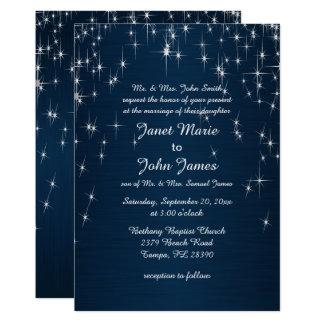 Reizend Stern getroffenes Wedding   Marine-Blau 12,7 X 17,8 Cm Einladungskarte