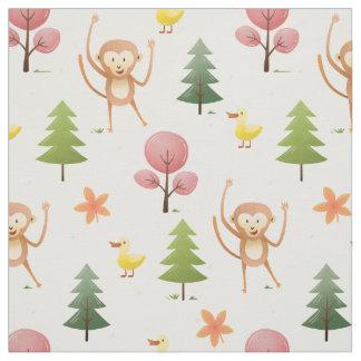 Reizende Affe-Gelbente und Baum-Kinderzimmer Stoff