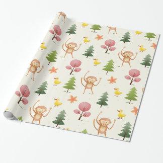 Reizende Affe-Gelbente und Bäume und Bäume Geschenkpapier