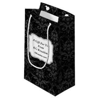 Reizende Aufkleber-schwarzer Damast Kleine Geschenktüte
