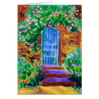 Reizende blaue hölzerne Tür zum geheimen Grußkarte