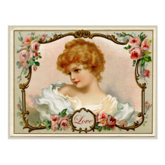 Reizende Dame Vintage Reproduction Postcard Postkarte