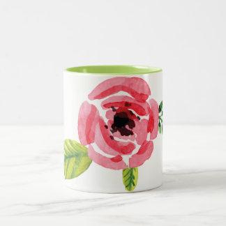 Reizende handgemalte Tasse der Watercolor-Blumen-| Zweifarbige Tasse