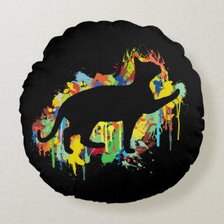 Reizende Katzen-buntes Malerei-Spritzen Rundes Kissen