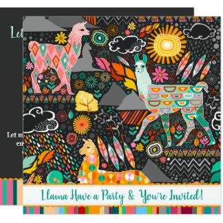 Reizende Lama-bunte festliche Party Einladung