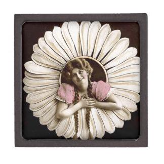 Reizende Vintage Blumen-Frauen Schmuckkiste