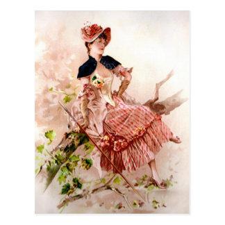 Reizende Vintage Dame In Pink Dress Postkarte