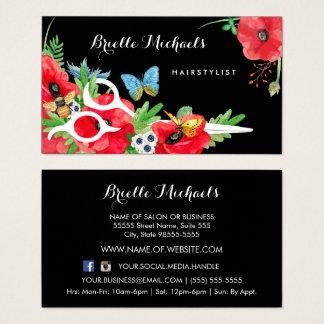 Reizender Hairstylist-rote Mohnblume mit Blumen Visitenkarte