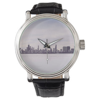 reizender Winter Chicago - die Vintage lederne Uhr