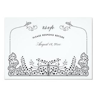 Reizendes Blätter-Schwarz-weiße 8,9 X 12,7 Cm Einladungskarte