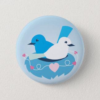 Reizendes blaues Liebevogel-Zaunkönigweiß Runder Button 5,1 Cm