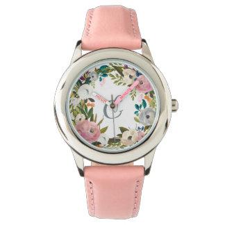 Reizendes empfindliches Monogramm der Blumen-  Armbanduhr