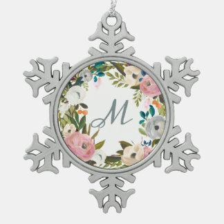 Reizendes empfindliches Monogramm der Blumen-| Schneeflocken Zinn-Ornament
