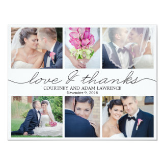 Reizendes Schreibens-Hochzeits-Foto danken Ihnen, 10,8 X 14 Cm Einladungskarte