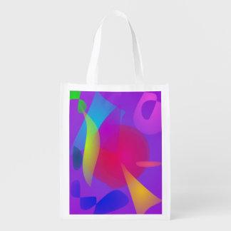 Relaxation abstraite de couleur sacs d'épicerie réutilisables