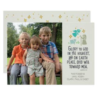 Religiöse Foto-Weihnachtskarte mit biblischem Vers 12,7 X 17,8 Cm Einladungskarte