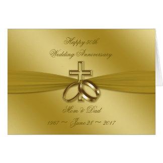 Religiöse goldene 50. Hochzeitstag-Karte Karte