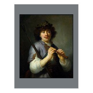 Rembrandt als Schäfer durch Govert Flinck Postkarte
