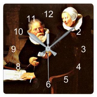 Rembrandt: Der Schiffbauer und seine Ehefrau, 1633 Quadratische Wanduhr