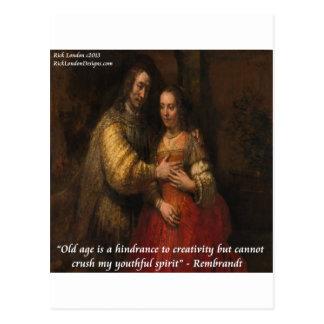 """Rembrandt """"die jüdische Braut"""" u. Alters-Zitat Postkarte"""