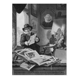 Rembrandt in seinem Studio Postkarte