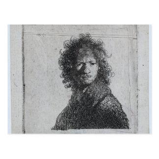 Rembrandt: Selbstporträt, runzelnd die Stirn Postkarte