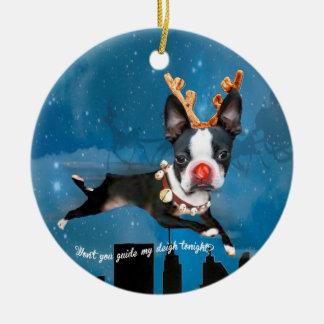 Ren Bostons Terrier Rudolph Feiertagsverzierung Keramik Ornament