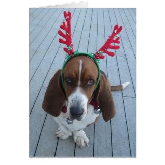 Ren-Dachshund-Feiertags-Weihnachtskarte Grußkarte