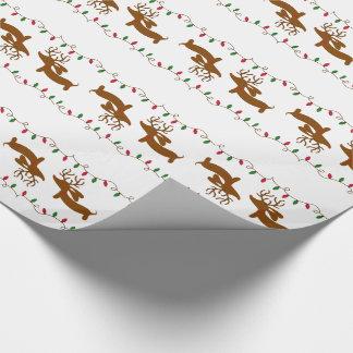 Ren-Dackel auf weißem Geschenk-Verpackungs-Papier Geschenkpapier