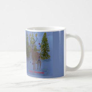 Ren mit den verzierten Geweihen, frohe Weihnachten Kaffeetasse