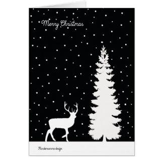 Ren- und Weihnachtsbaum - fallender Schnee Karte