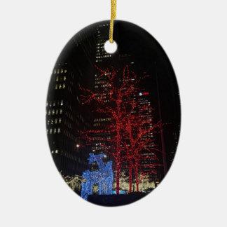 Ren-Weihnachtslichter New York City Manhattan Keramik Ornament