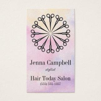 Rendez-vous de pastel de ciseaux de coiffeur cartes de visite
