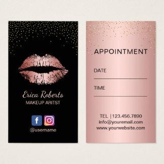 Rendez-vous rose de lèvres d'or de maquilleur cartes de visite
