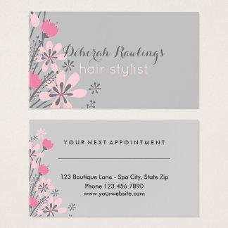 Rendez-vous rose floral de coiffeur du gris   cartes de visite