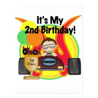 Rennen-Auto-2. Geburtstags-T - Shirts und Postkarte