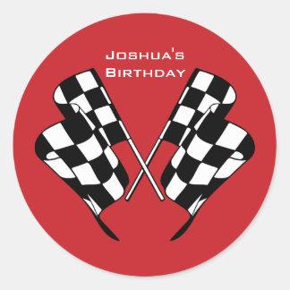 Rennen-Auto-Checkered Flaggen-Umschlag Runder Aufkleber