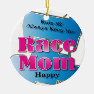 Rennen-Mamma Rundes Keramik Ornament