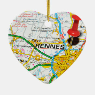 Rennes, Frankreich Keramik Herz-Ornament