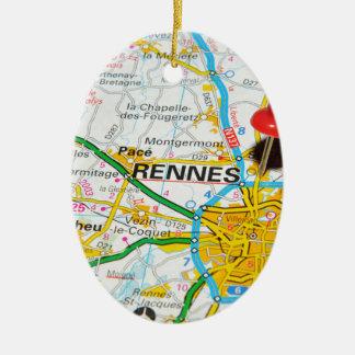 Rennes, Frankreich Ovales Keramik Ornament