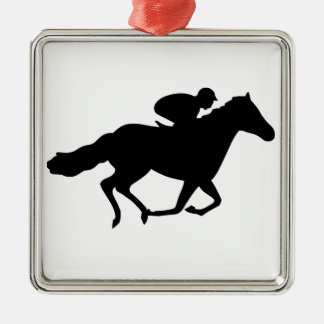 Rennpferd Quadratisches Silberfarbenes Ornament