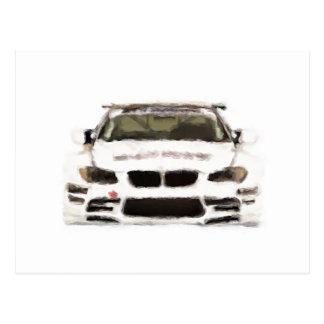 Rennwagen-handgemalte Kunst-Bürsten-Schablone BMWs Postkarte